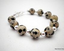 Dalmatian Jasper Stretchy Interchangeable Watch Band - Medium
