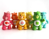 Set of 6 Vintage Poseable Care Bears - RuggyDesign