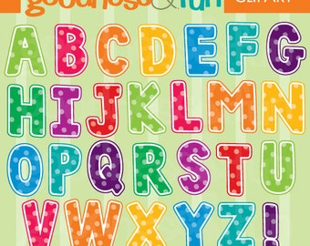 Buy 2, Get 1 FREE - Spotted Alphabet Clipart  - Digital Alphabet Clipart - Instant Download