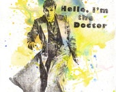 Doctor Who Art David Tennant 10th Doctor Movie Poster 8 X 10 in. Print From Original Watercolor Painting Doctor Who Art Poster Print