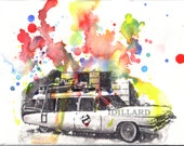 Ghostbuster's Wagon Art Print From Original Watercolor Painting - 8 x 10 in. Ghostbusters Art Print