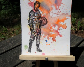 Luke Skywalker in Xwing Fighter Pilot Suit Star Wars Art Watercolor Painting - Original Watercolor Painting