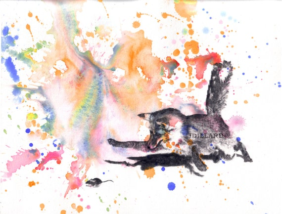 Fox Catching a Mouse Watercolor Painting - Original Watercolor Animal Painting