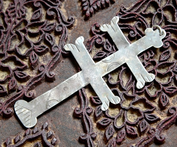 18th Century American Indian Fur Trade Silver Cross Of