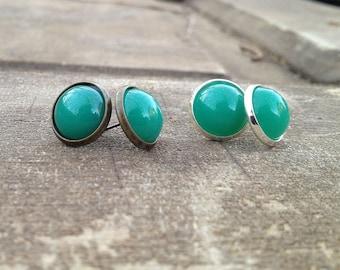 Last One-Post Earrings-Vintage Green Glass-Silver Setting