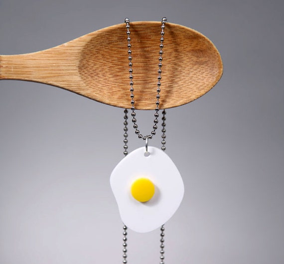 Egg Necklace Acrylic Food Jewelry, Large Size Statement Necklace, Fake Food Jewelry