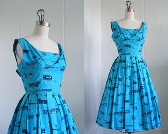 1950's Vintage Rare Black Alfred Shaheen Label Shelf Bust Blue Hawaiian Dress Very VLV Rockabilly Viva Las Vegas