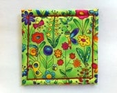 Coaster in Fantasy Garden Fabric Made on Willcox & Gibbs Chain Stitch Machine, Signed