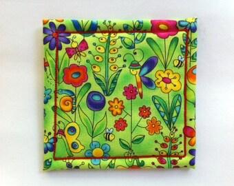 Coaster in Fantasy Garden Fabric Made on Willcox & Gibbs Chain Stitch Machine, Signed