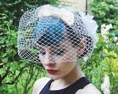 Bridal bow birdcage veil - ivory bridal wedding headpiece - Ivory bridal fascinator.