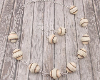Paper Bead Necklace and Earring Set - Rwandan Paper Beads - Ivory with Brown and Peach Stripes