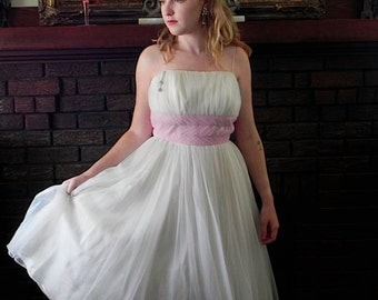 Vintage Dress 50s Pink and White Chiffon Party Dress with Petticoat S XS - on sale