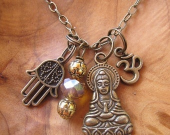 Buddha Quan-Yin  Charm Necklace- Goddess of Compassion with Om, Hamsa and Topaz Beaded Dangle, Namaste, Zen, Buddhism, Yoga Jewelry