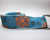 Turquoise.and Orange Retro Flower Womens Belt Double D-ring
