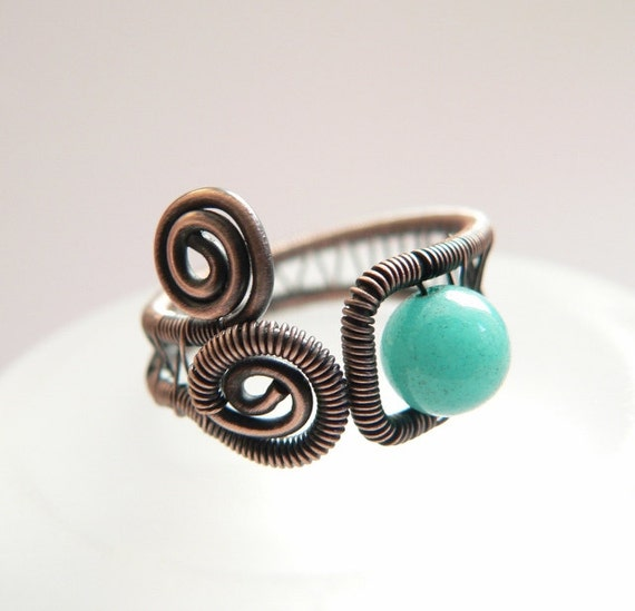 Adjustable blue jade ring, antique copper wire wrapped ring, rustic handmade jewelry with stone bead