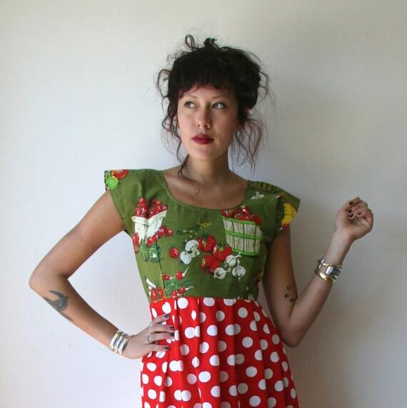 Vegetable Polka Dot Mini Dress Sz S / M