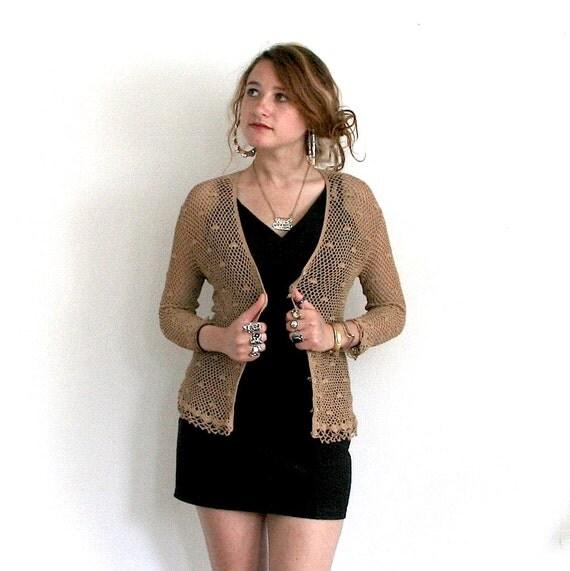 ON HOLD 80s Crochet Cardigan Sweater Sz S / M