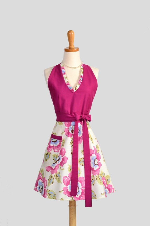Halter Womens Apron / Gypsy Caravan Fabric from Amy Butler in a Cute Handmade Kitchen Apron Beautiful and Feminine