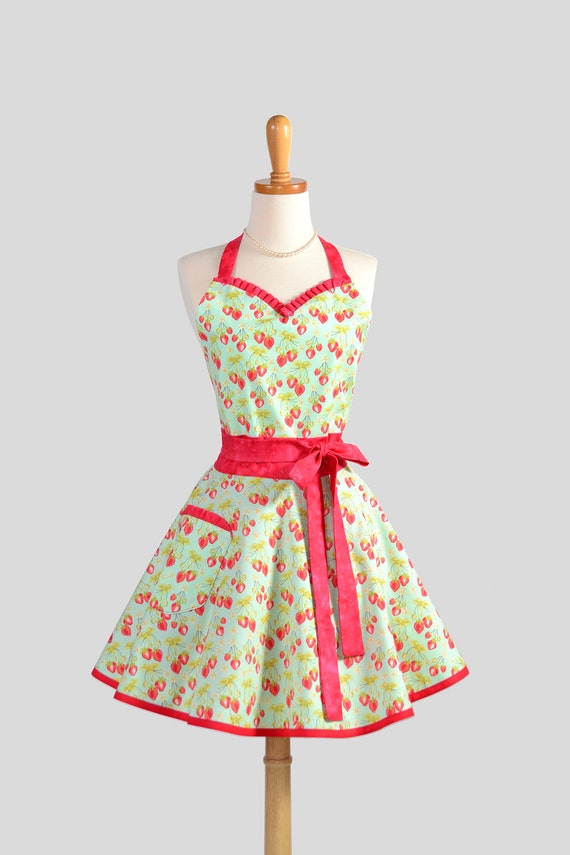 Sweetheart  Retro Apron . Sexy Kitchen Apron in Cute and Flirty Retro Handmade Full Womens Apron Strawberry Fields