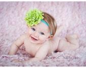 Baby Headband  Newborn headband Toddler heaband..Lime Flower on Turquoise Stretch Headband Rhinestone Center- Photo Prop