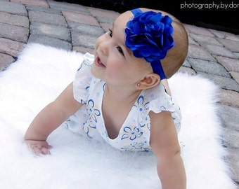 SALE- Royal Blue Fabric Flower on Soft Stretch Headband - Newborns Infants Babies Toddlers Tweens Adults photo prop Photography