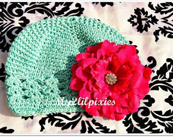 Beanie Hat with Detachable Rhinestone Flower-- Fits  0-12 months- Photo Prop-- Everyday Wear-