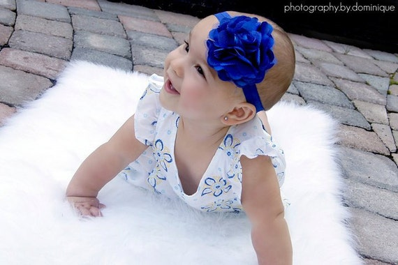 Baby Girl Royal Blue headband, Baby girl headbands, Blue Headband, Flower headband, Baby bow, Baby bow band, baby bows, Headband