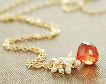 Orange Stone Necklace with Seed Pearl Cluster, Gold Pendant Necklace, Rustic Summer Jewelry