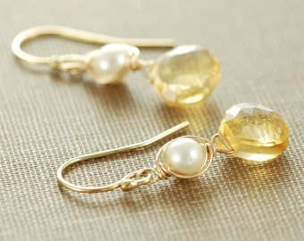 Honey Citrine Pearl Earrings, November Birthstone Jewelry, Gold Gemstone Dangle Earrings, Fall Fashion, aubepine
