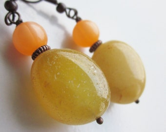 Artisan Handmade Gemstone Earrings, Natural Amber Nuggets, Moonglow Lucite, Sunny Yellow, Apricot Orange, Colourful, OOAK, Gifts for Her