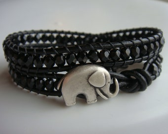 Elephant Bracelet, Black Beaded Leather Bracelet, Good Luck