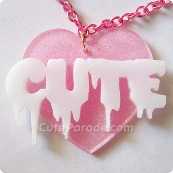 Dripping with Cute Acrylic Laser Cut Necklace Pink x White Fairy Kei Kawaii Lolita