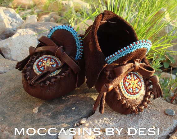 Baby Moccasins By Desi, For Boy or Girl, Soft Deerskin leather