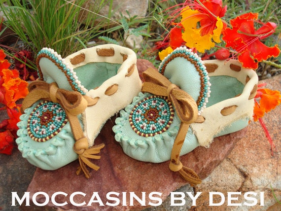 Baby Moccasins By Desi, For Boy or Girl, Soft leather with Rugged edges.