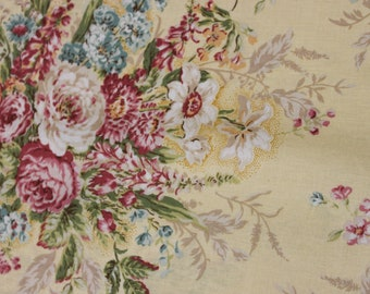 Jessica Fabric Collection by Quilt Gate MR213011C Heirloom Roses on Yellow