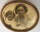 Victorian Photo Pin Mother & Child Photograph