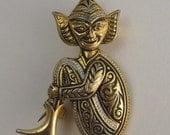 Reserved for Alex - Vintage Damascene Pixie Brooch Pin