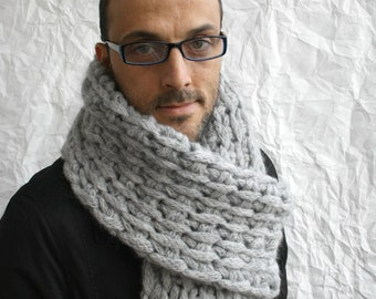 Gray Wool Big Extra Long Scarf Perfect Gift Under 75 For Men Dady Boy Friend Christmas Gift