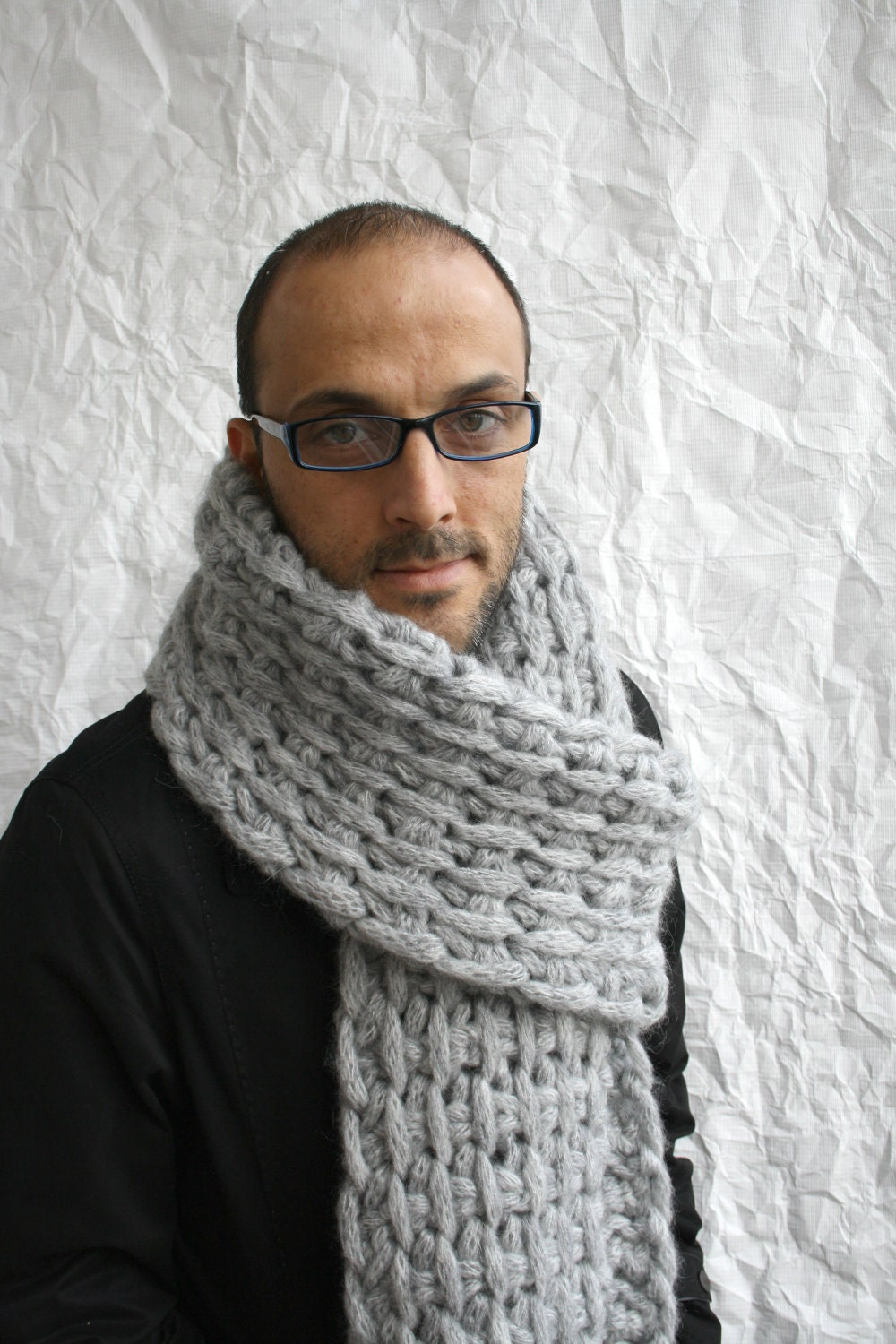Knitting Patterns For Big Scarves : Gray Wool Big Extra Long Scarf Perfect Gift Under 75 For Men