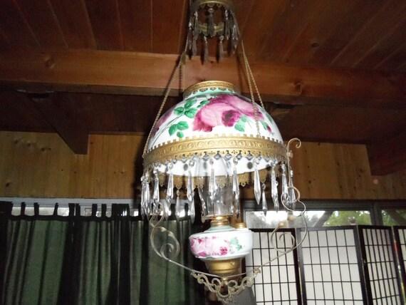 parlor hanging oil lamp chandelier prisms antique gone with. Black Bedroom Furniture Sets. Home Design Ideas