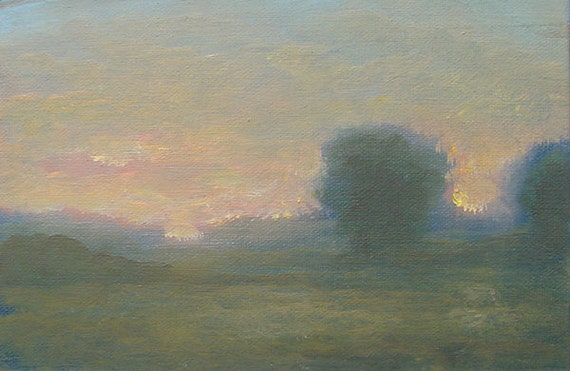 Original tonalist landscape oil painting on linen.