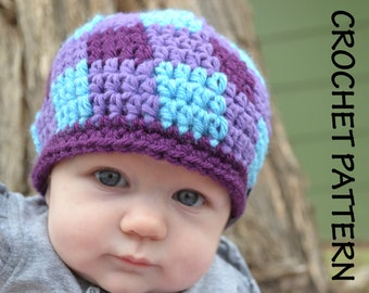 CROCHET HAT PATTERN Kid's & Baby's Gingham Beanie