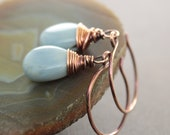 Blue opal copper earrings with smooth briolette stones - Dangle earrings - Drop earrings - Other stone available