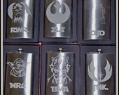 Etched Flasks set of 6 Personalized Star Wars Flasks Chewie, R2D2, Yoda, Darth Mal, Rebel Alliance, Order of Jedi by Jackglass on Etsy