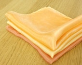 Autumn Spice Silk Handkerchiefs - Set of Three - Naturally Dyed - Gift Wrapped - Orange, Tan, Gold