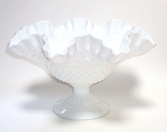 Vintage Fenton Milkglass Large Ruffled Compote in Hobnail Pattern cr. 1969  I Take CREDIT CARDS