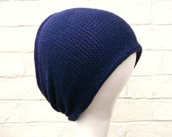Mens headband, navy blue knitted earmwarmer, winter hair accessory.