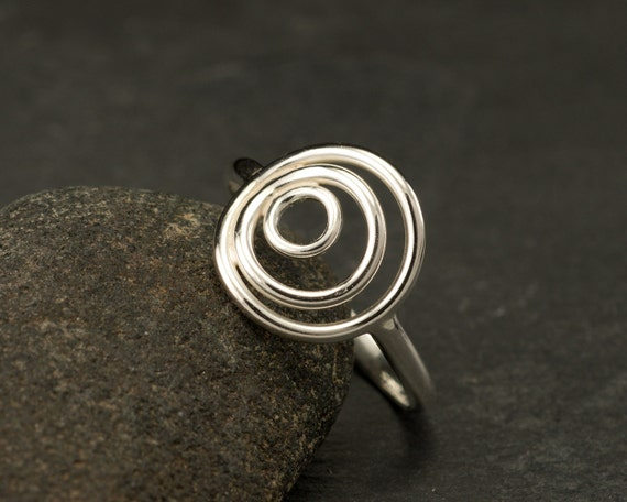 Sterling Silver Ring- Silver Circle Ring- Circle Trio Ring - Modern Silver Ring- Handmade Silver Jewelry