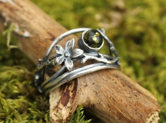 Sterling silver and green amber vine blossom ring - oxidised, twig, branches, flower blossom, vine ring