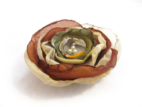 For Her --- FREE SHIPPING --- Earthy Colors ... Autumn ... Fall ...  Flower Brooch ... Fabric Jewlery